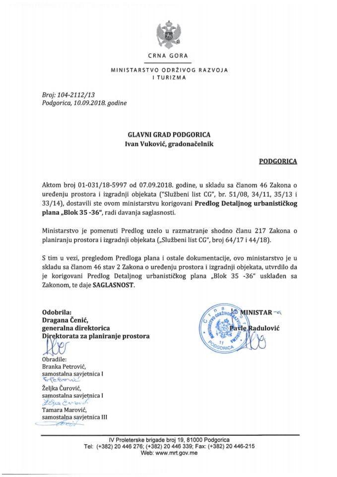 104-2112_13 Saglasnost na Korigovani Predlog DUP-a Blok 35-36, Glavni grad Podgorica