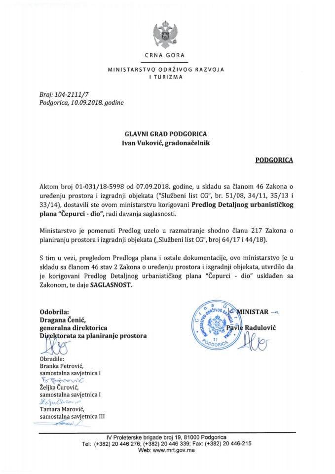 104-2111_7  Saglasnost na Korigovani Predlog DUP-a Čepurci-dio, Glavni grad Podgorica