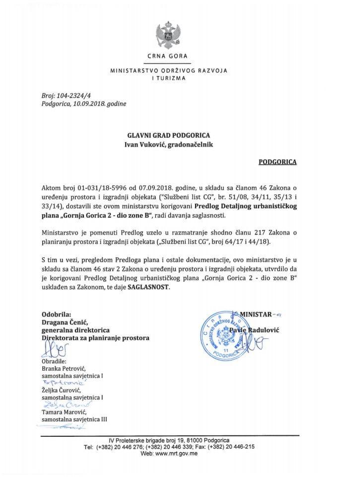 104-2324_4  Saglasnost na Korigovani Predlog DUP-a Gornja Gorica 2-dio zone B,