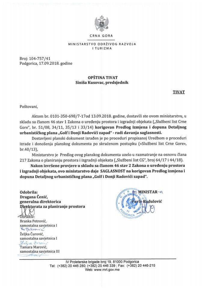 104-757_41 Saglasnost na korigovani Predlog IID DUP-a Golf i Donji Radovići zapad, Opština Tivat
