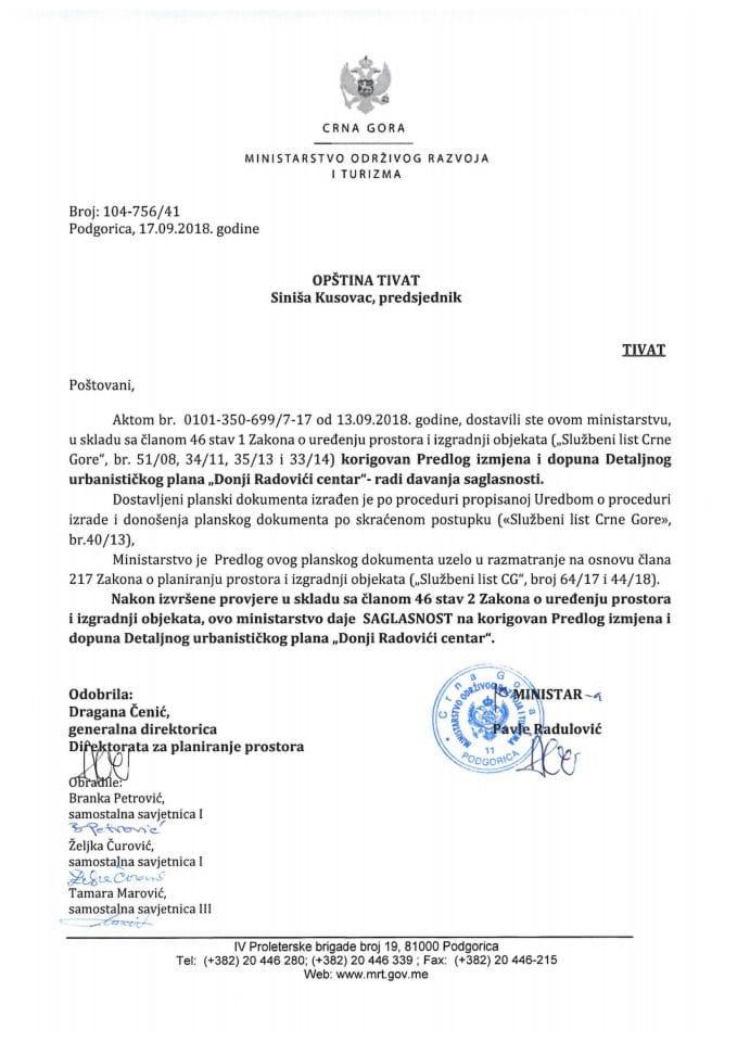 104-756_41 Saglasnost na korigovani Predlog IID DUP-a Donji Radovići centar, Opština Tivat