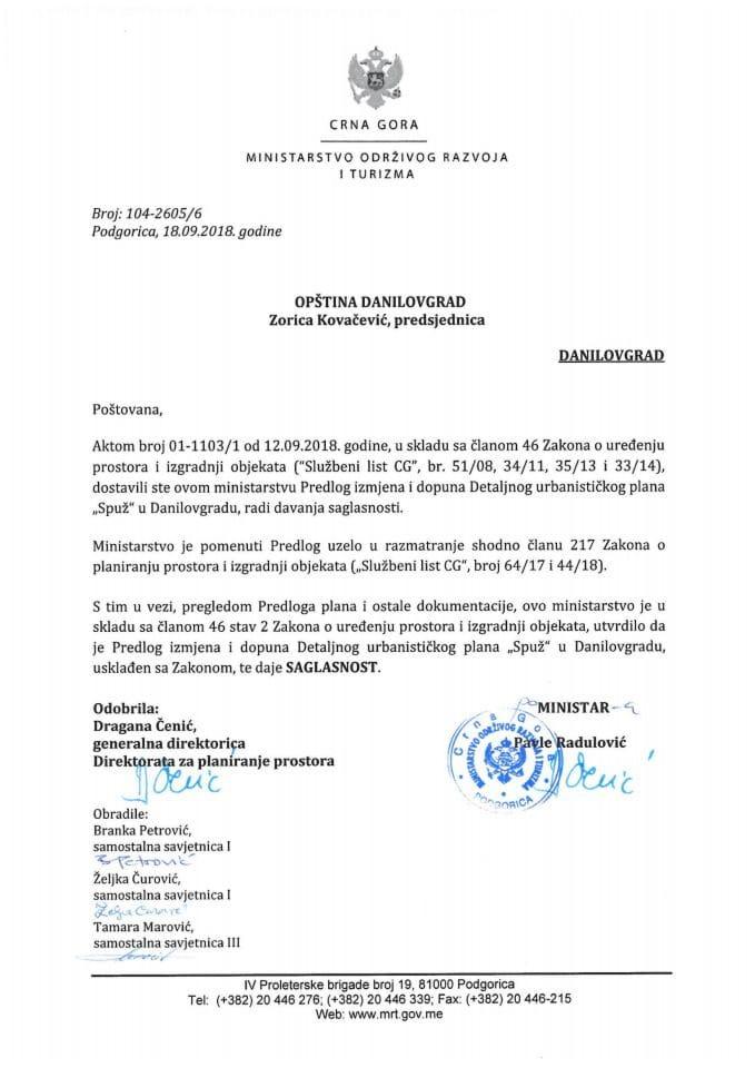 104-2605_6 Misljenje na Nacrt IID DUP-a Spuž, Opština Danilovgrad