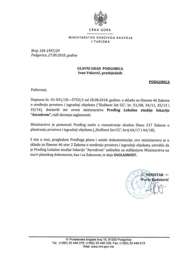 104-1997_29 Saglasnost na Predlog LSL Aerodrom, Glavni grad Podgorica