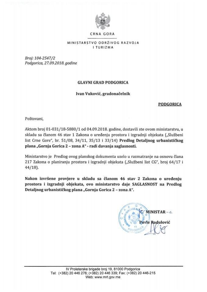 104-2547_2 Saglasnost na Predlog DUP Gornja Gorica 2-zona A, Glavni grad Podgorica