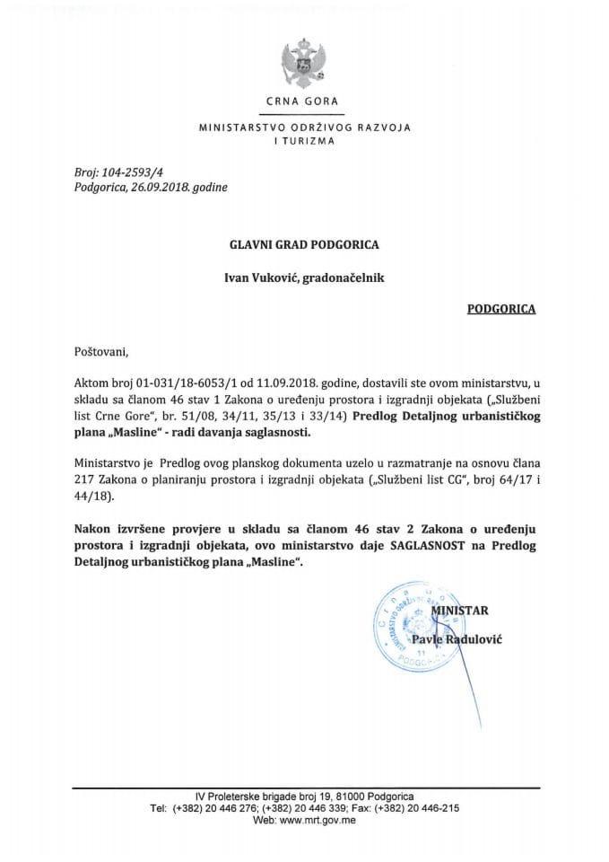 104-2593_4 Saglasnost na Predlog DUP-a Masline, Glavni grad Podgorica