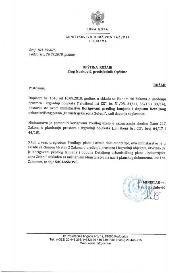104-1956_6 Saglasnost na korigovani Predlog IID DUP-a Industrijska zona Zeleni,Opština Rožaje