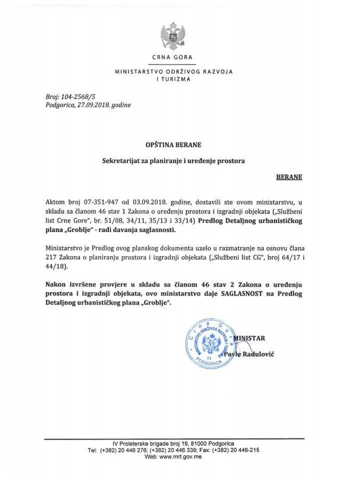 104-2568_5 Saglasnost na Predlog DUP-a Groblje, Opština Berane