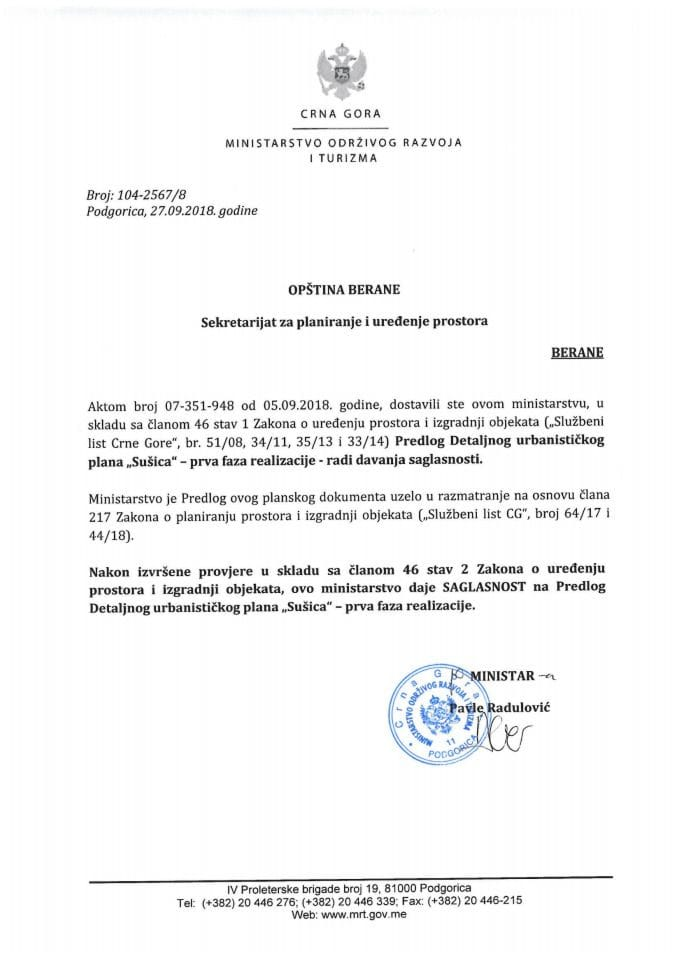 104-2567_8 Saglasnost na Predlog DUP-a Sušica-prva faza realizacije, Opština Berane
