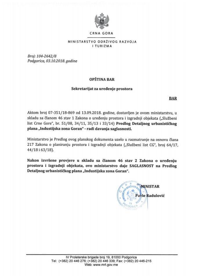 104-2642_8 Saglasnost na Predlog DUP-a Industrijska zona Goran, Opština Bar