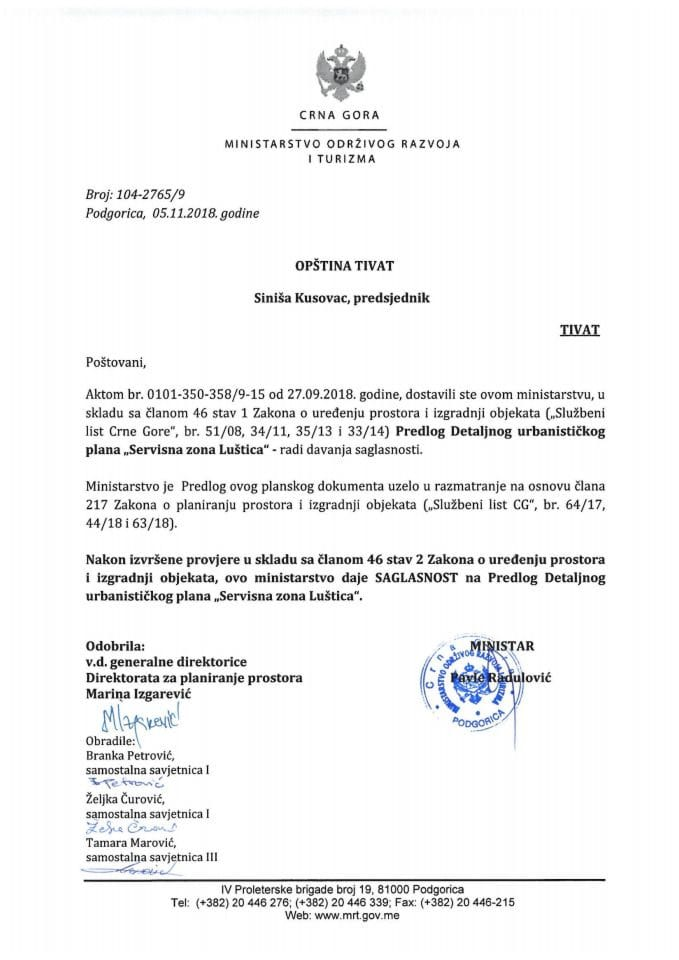 104-2765_9 Saglasnost na Predlog DUP-a Servisna zona Luštica, Opština Tivat