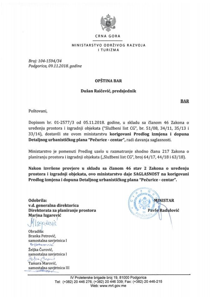 104-1594_34 Saglasnost na korigovani Predlog IID DUP-a Pečurice-centar, Opština Bar