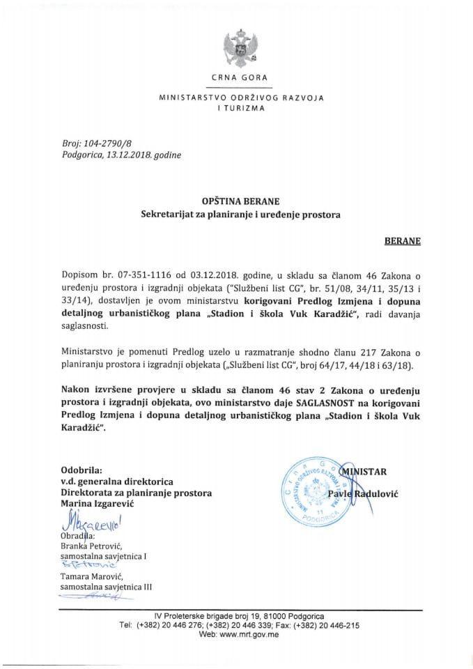 104-2790_8 Saglasnost na korigovani Predlog IID DUP-a Stadion i škola Vuk Karadžić,Opština Berane