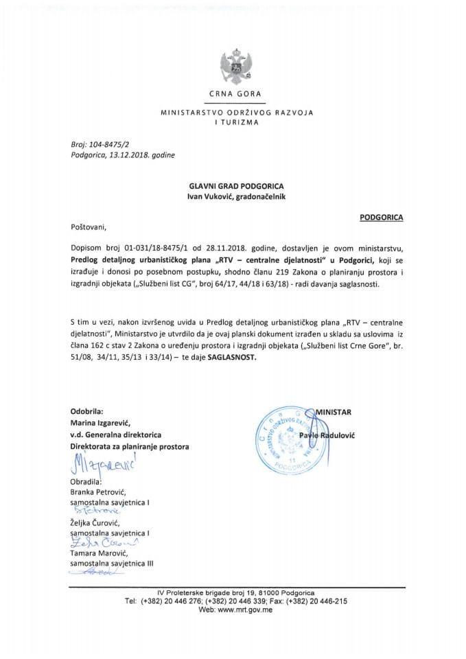 104-8475_2 Saglasnost na Predlog DUP-a RTV-centralne djelatnosti, Glavni grad Podgorica