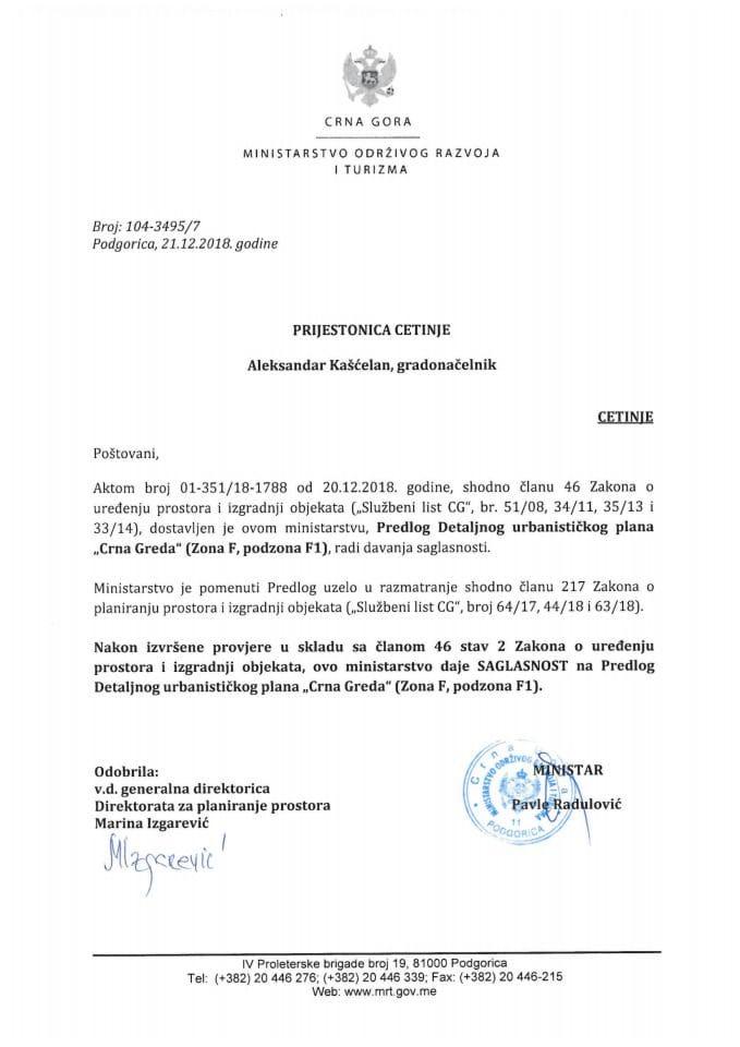 104-3495_7 Saglasnost na Predlog DUP-a Crna Greda-zona F,podzona F1, Prijestonica Cetinje