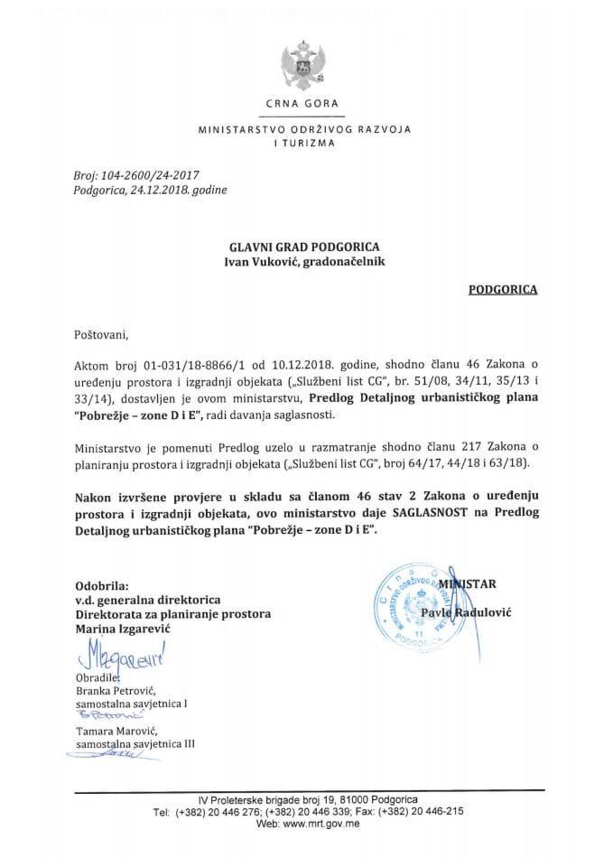 104-2600_24-2017 Saglasnost na Predlog DUP-a Pobrežje-zone D i E, Glavni grad Podgorica