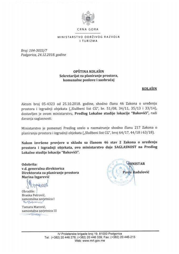 104-3033_7 Saglasnost na Predlog LSL Bakovići, Opština Kolašin