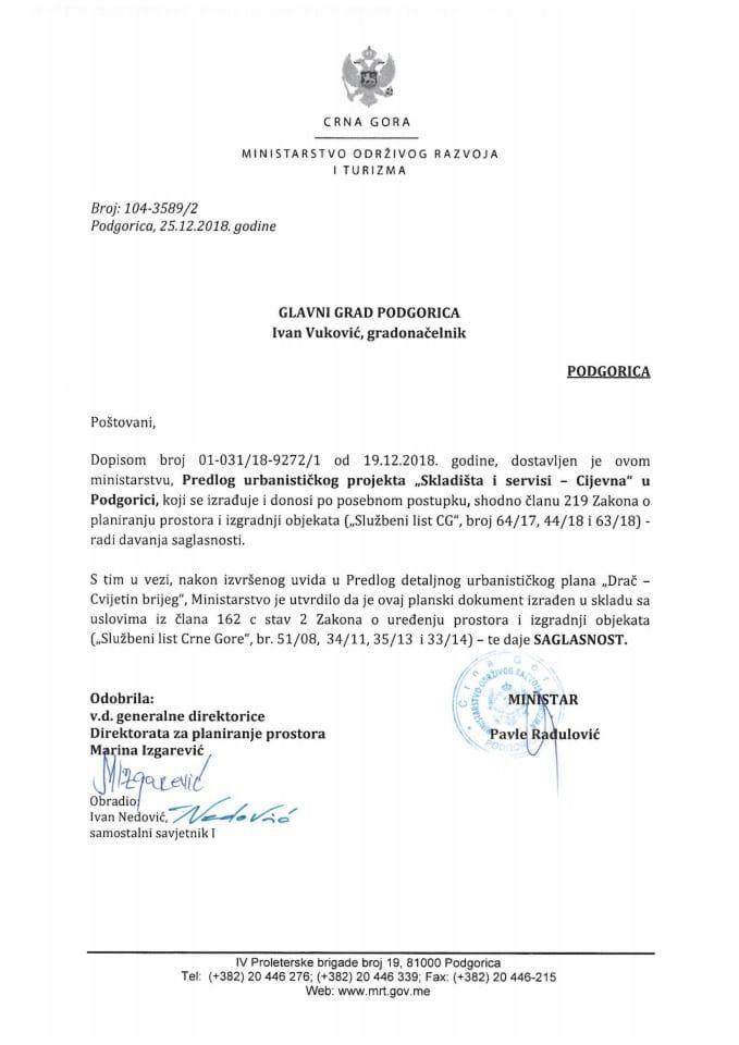 104-3589_2 Saglasnost na Predlog UP-a Skladišti i servisi-Cijevna, Glavni grad Podgorica