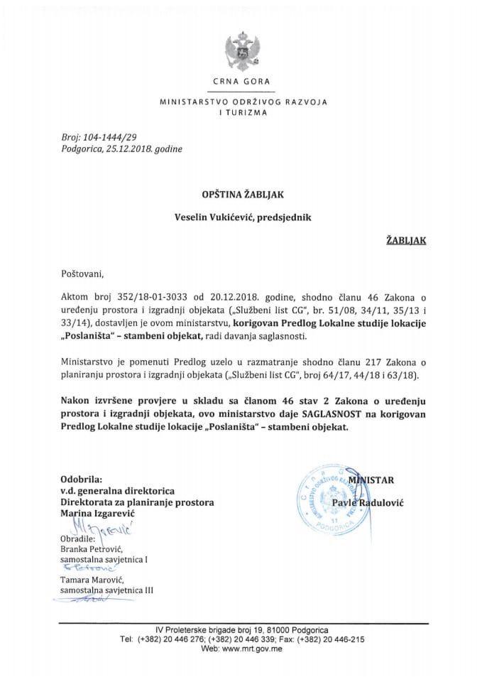 104-1444_29 Saglasnost na korigovani Predlog LSL Poslaništa-stambeni objekat, Opština Žabljak