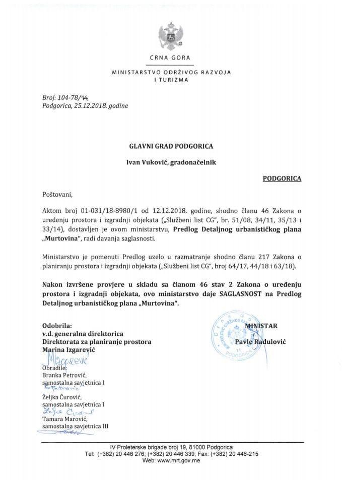 104-78_14 Saglasnost na Predlog DUP-a Murtovina, Glavni grad Podgorica