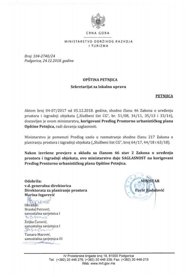 104-2740_24 Saglasnost na korigovani Predlog Prostorno urbanističkog plana Opštine Petnjica