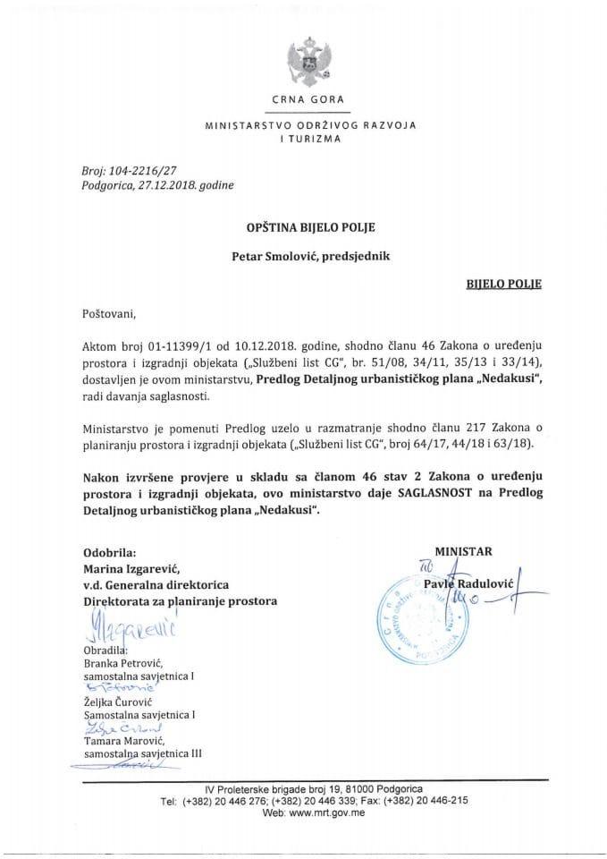 104_2216_27 Saglasnost na Predlog DUP Nedakusi, Opština Bijelo Polje