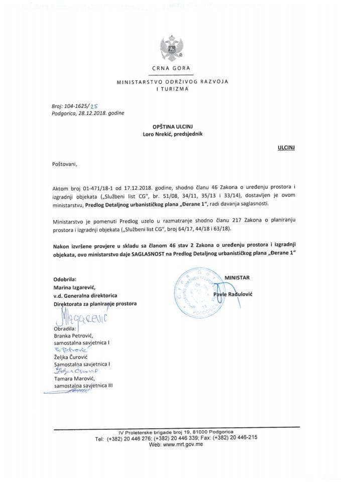 104-1625_25 Saglasnost na Predlog DUP-a Đerane 1, Opština Ulcinj