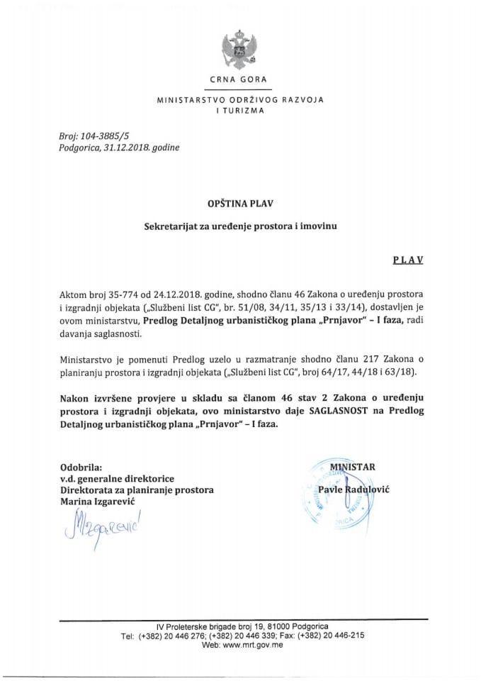 104_3885_5 Saglasnost na Predlog DUP Prnjavor - I faza, Opstina Plav