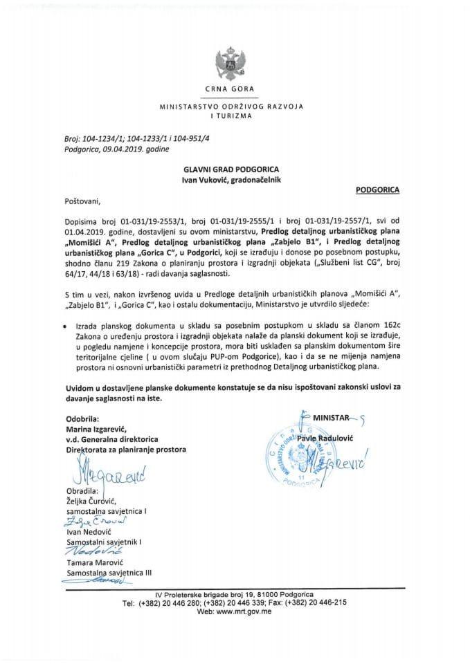 Predlog DUP Momišići A, Zabjelo B1, Gorica C