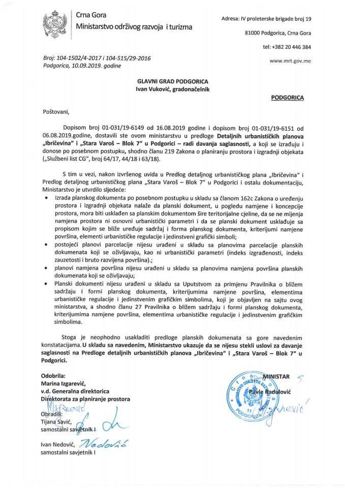 104-1502_4-2017 i 104-515_29-2016 Predlog DUP Ibričevina i DUP Stara Varoš-Blok 7, Glavni grad Podgorica