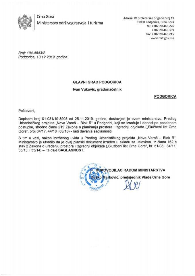 104-4843_2 Saglasnost na Predlog UP-a Nova Varoš-Blok R, Glavni grad Podgorica