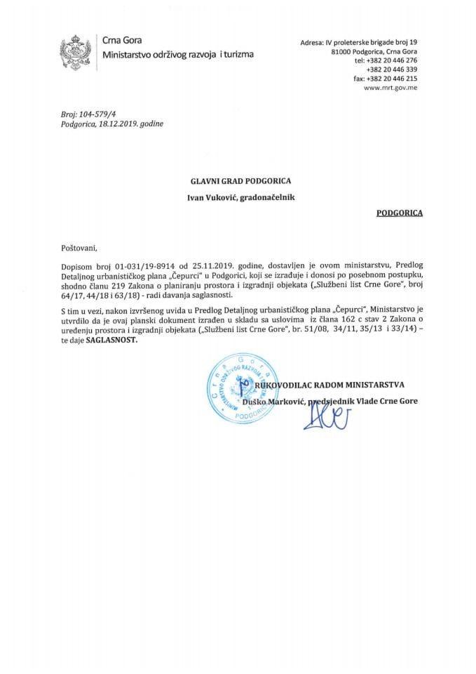 104-579_4 Saglasnost na Predlog DUP-a Čepurci, Glavni grad Podgorica
