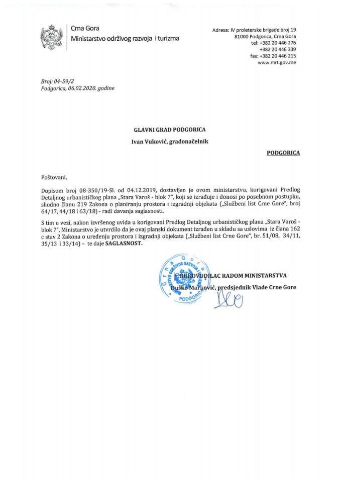 04-59_2 Saglasnost na Predlog DUP-a Stara Varoš-Blok 7, Glavni grad Podgorica