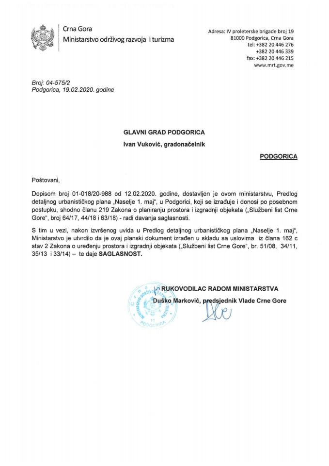 04-575_2 Saglasnost na Predlog DUP-a Naselje 1.maj, Glavni grad Podgorica