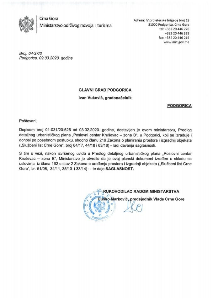 04-37_3 Saglasnost na Predlog DUP-a Poslovni centar Kruševac-zona B, Glavni grad Podgorica