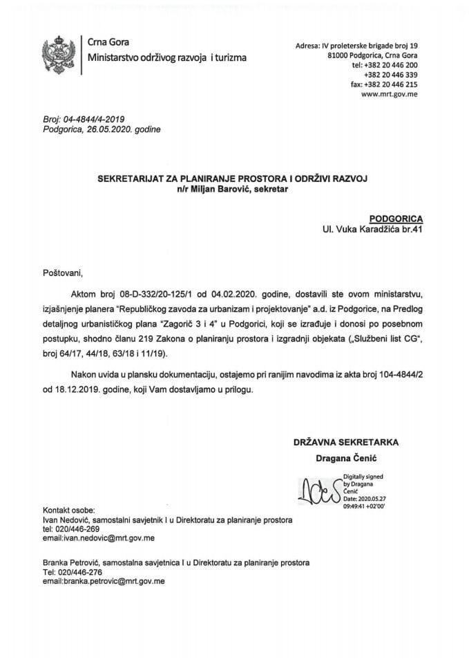 04-4844_4-2019 Predlog DUP-a Zagorič 3 i 4, Glavni grad Podgorica