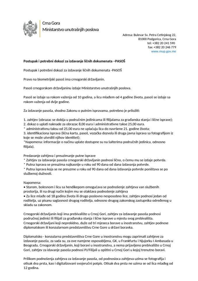 Postupak i potrebni dokazi za izdavanje ličnih dokumenata –PASOŠ