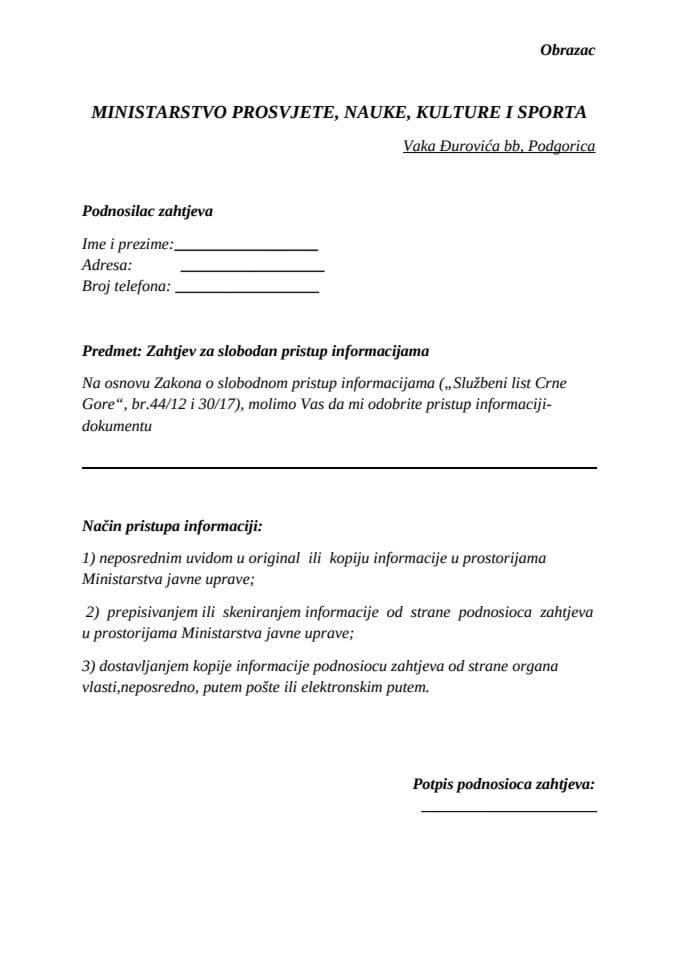 Obrazac za slobodan pristup informacijama