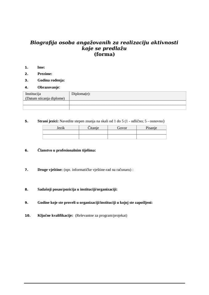 CV forma za osobe angažovane na realizaciji aktivnosti koje se predlažu