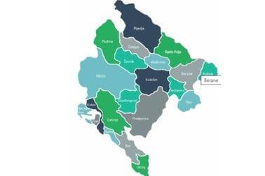 Мапа здравствених установа у Црној Гори