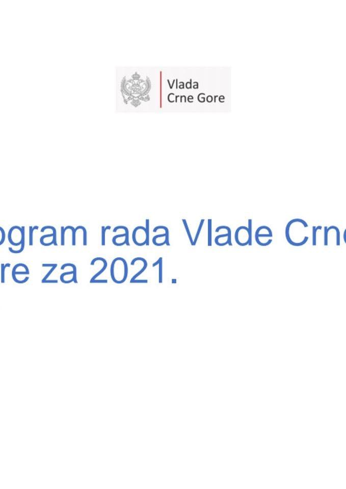 Program rada Vlade Crne Gore za 2021. godinu