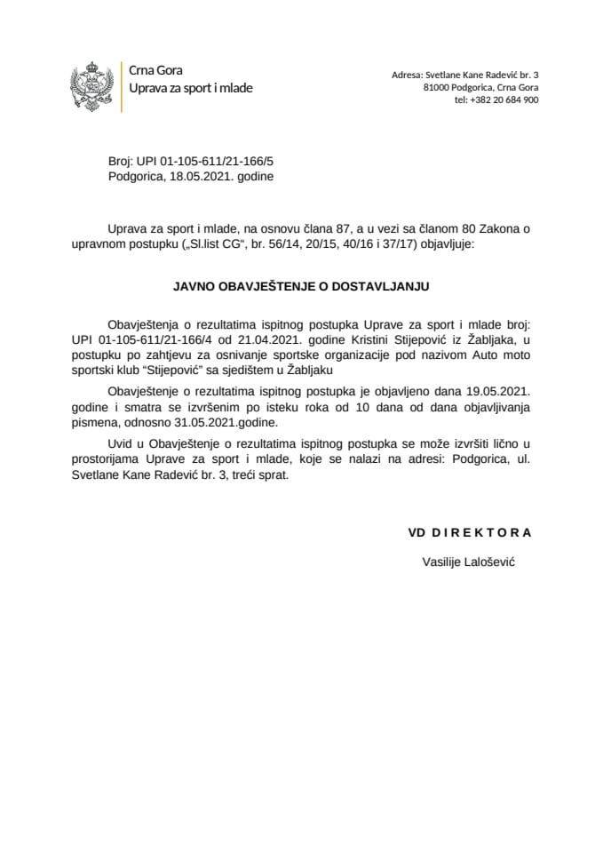 Javno obavještenje o dostavljanju Krstini Stijepovic