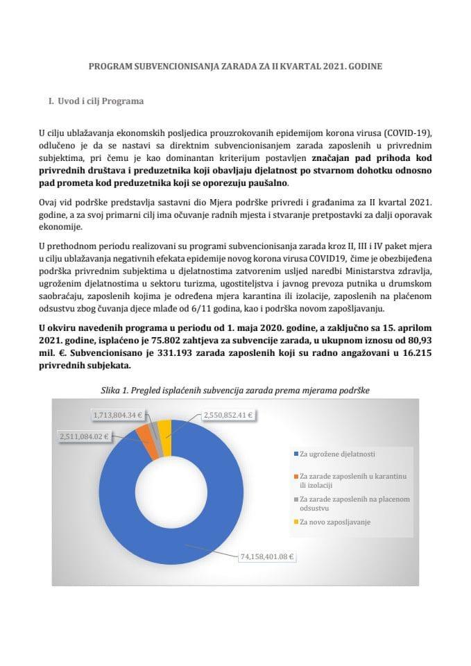 Program subvencija zarada za II kvartal 2021. godine