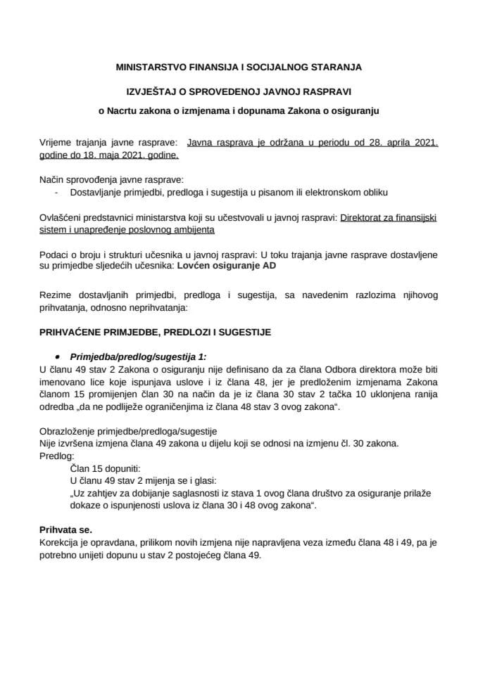 Obrazac 5 - Izvještaj o Javnoj raspravi o Nacrtu zakona o izmjenama i dopunama Zakona o osiguranju