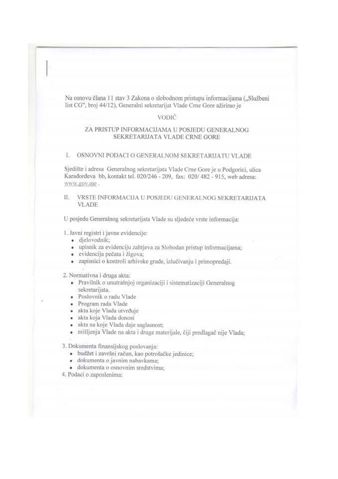 Vodič za pristup informacijama u posjedu Generalnog sekretarijata Vlade Crne Gore