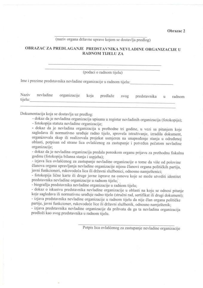 Obrazac za predlaganje predstavnika