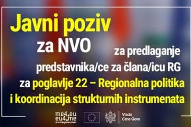 Javni poziv NVO za predlaganje predstavnika/ce za člana/icu Radne grupe za  pregovaračko poglavlje 22 – Regionalna politika i koordinacija strukturnih instrumenata
