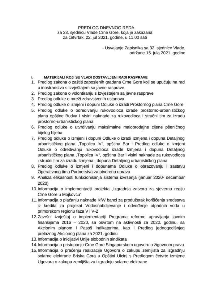 Predlog dnevnog reda za 33. sjednicu Vlade Crne Gore