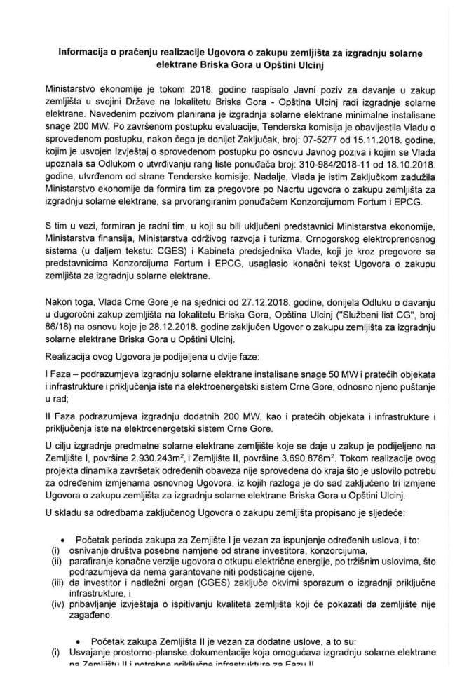 Informacija o praćenju realizacije Ugovora o zakupu zemljišta za izgradnju solarne elektrane Briska Gora u Opštini Ulcinj s Predlogom četvrte izmjene Ugovora o zakupu zemljišta za izgradnju solarne elektrane