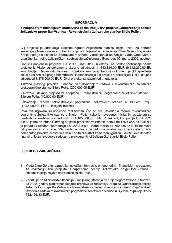 """Informacija o neophodnim finansijskim sredstvima za realizaciju IPA projekta """"Unapređenje sekcije željezničke pruge Bar-Vrbnica - Rekonstrukcija željezničke stanice Bijelo Polje"""""""