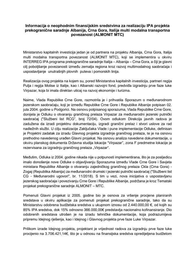 Informacija o neophodnim finansijskim sredstvima za realizaciju IPA projekta prekogranične saradnje Albanija, Crna Gora, Italija multi modalna transportna povezanost (ALMONIT MTC)